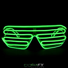 EL Wire Wrapped Shutter Glasses Green Glowing Glow Light up shades Rave Clubs