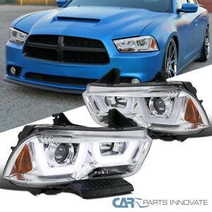 """For 11-14 Dodge Charger Clear """"Iced LED Halo"""" Projector Headlights Headlamps"""