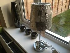 Silver Glitter Sparkle Bling Table Bedside Lamp Light