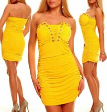 Miss Sexy Donna Bandeau Push Up mini abito party dress glam pietre 34/36/38 GIALLO