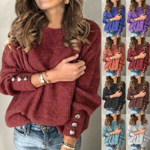 Womens Jumper Ladies Buttons Blouse Pullover Tee Loose Long Sleeve Knitted Tops