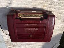 Mid Century GENERAL ELECTRIC Marbled ?  Bakelite Tube Radio Burgundy Red VTG AM