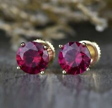 1.00 Ct Round Ruby Solitaire 4 Prong Stud Earrings Women's 14k Yellow Gold Over