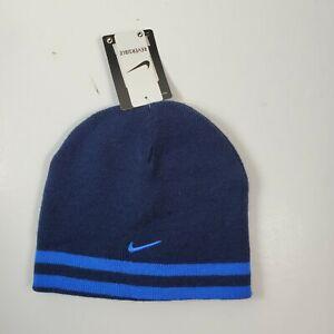 Nike Reversible Blue Knit Beanie Skull Cap Youth Boy's 8-20 NWT