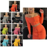 UK Women 2 Piece Crop Top Set Dress Ladies Holiday Party Mini Skirt Co Ord Set