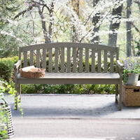 Curved Back 5 Foot Wood Patio Bench Outdoor Home Seating Furniture Garden Deck