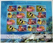 2003 MNH WWF NAURU SEA LIFE STAMPS SHEET SEA ANEMONES & FISHES MARINE LIFE OCEAN