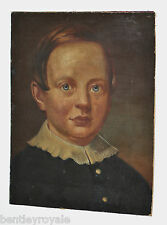 """A Late C18th Folk Art Oil Painting Of A Young Boy. 13"""" x 10 1/2"""". On Canvas."""
