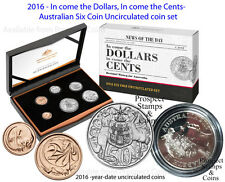 2016 Six Coin Australian Uncirculated Set: In come the dollars in come the cents