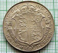 GREAT BRITAIN GEORGE V 1921 HALF 1/2 CROWN, SILVER, HIGH GRADE