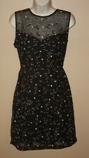 Nicole Miller Embroidered  sheath dress black silk  Women's 4