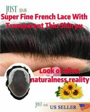 Mens Hair Replacement System French Lace Front &Skin Hairpiece Mens Toupee WigQ6