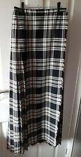 Vintage Retro Long Tartan Kilt Maxi Skirt - St Michael M&S - Black White Pleated