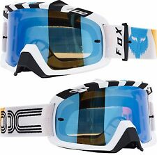FOX AIRSPACE MOTOCROSS MX GOGGLE RHOR WHITE with BLUE MIRROR tear-off airspc