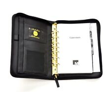 Mundex Mundi Planner Organizer 7 Ring Black Zip Around EUC