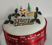 TRADITIONAL SET OF CHRISTMAS CAKE DECORATIONS - GOLD MOTTO