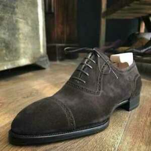 Handmade Men's Genuine Brown Suede Oxford Toe cap Lace up Shoes