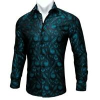 Mens Shirt Long Sleeve Casual Button-Down Shirts Black Teal Paisley Tops