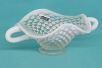 Fenton Hobnail Opalescent White Double Handled Ruffled Rim Small Candy Dish 953B
