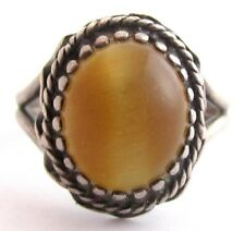 Tiger'S Eye Oval Cab Charming Vintage Size 7 Old Sterling Silver Ring*4.6G*D188