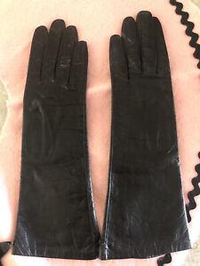 Vintage NOS I Magnin Black Kid Leather Gloves Made In France Size 7 1/2
