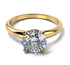 1.08 ct SI1/J Natural Diamond Round Solitaire Engagement Ring 14K Yellow Gold