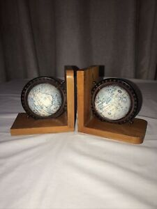 Vintage Wooden Book Ends Spinning Globes Of The World.