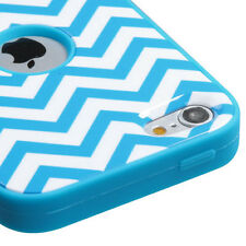 For iPod Touch 5th & 6th Gen - Hard & Soft Rubber Hybrid Armor Case Blue Chevron