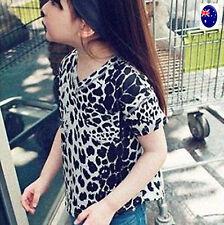 Girl Kid Child Black white Leopard animal Party short Sleeves T shirt Tee Tops