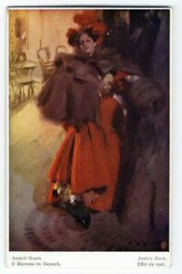 Lady in Red NIGHT EFFECT by Anders Zorn Postcard c 1910 Pretty Woman