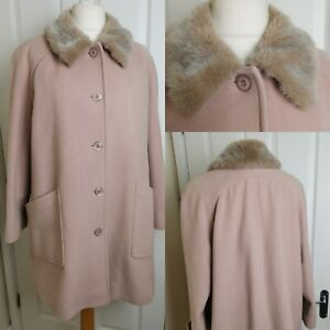 Jacques Vert Size 18 Light Pink Wool And Cashmere Faux Fur Coat