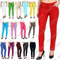 New Ladies Plain Skinny Slim Fit Stretchy Zip Up Denim Jeggings Trousers Pants