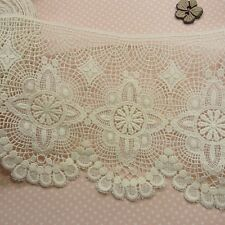 1yd Antique St Scalloped Embroidery Cotton Fabric Crochet Lace Trim 16.5cm Wide