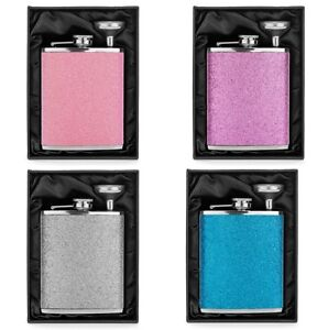 Glitter Bling Hip FLASK & FUNNEL Stainless Steel Blue Green Pink Purple Silver
