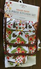 RARE 5 pc KITCHEN SET: 2 POT HOLDERS,1 OVEN MITT & 2 TOWELS, OWLS on the TREE