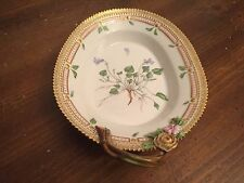 "Royal Copenhagen ""FLORA DANICA""  Botanical ~ Handled Accent Plate ~ 8 3/4"""