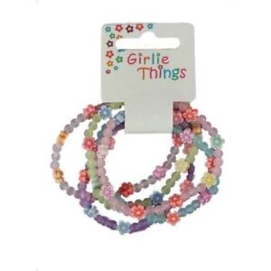 Pack of 5 Girls Frosted Daisy Flowers and Beads Bracelets Bangles