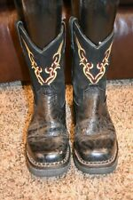 JUSTIN WOMENS 7 B BLACK FLORAL TOOLED LEATHER SQUARE TOE COWBOY BOOTS ROPERS