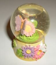 New Deluxe Imports Purple Butterfly & Flowers Snow Globe Ceramic Base Snowdome