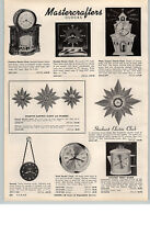 1959 PAPER AD Mastercrafters Clock Fireplace Country Church Spartus Wall Clocks