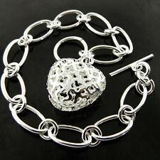 Bracelet Bangle Real 925 Sterling Silver SF Solid Tbar Flower Heart Charm Design