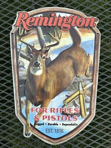 Remington For Rifles & Pistols Metal Tin Sign Gun Hunting Embossed RARE
