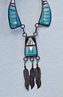 Signed Necklace, Vintage Native American, Sterling Silver with Multi-Stone Inlay