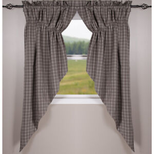 """Summerville Pewter 72"""" x 63"""" Lined Cotton Gathered Swag by Raghu"""