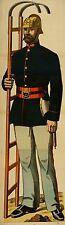 Original Antique Wissembourg Poster Fireman & Ladder c1880 Alsatian Weissenburg