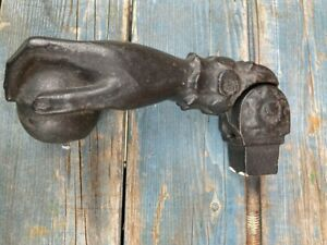 Great Early 19th C. Cast Iron Hand With Ball Door Knocker 8'' long
