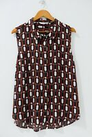 Preview Blouse Size 18 Multicolored Abstract Pattern Collared Sleeveless Top