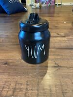 "RAE DUNN Artisan Collection LL ""YUM"" Glossy Black Small Baby Canister By Magenta"