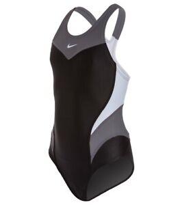 Nike Swim Victory Black/White Power Back Tank One Piece Swimsuit 38/ Women's 12