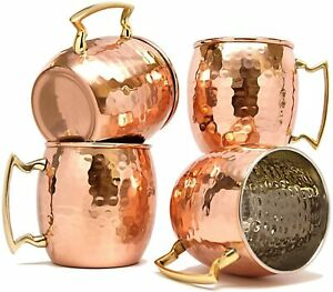 Copper Mug for Moscow Mules 560 ML / 18 oz - Set of 4, Inside Nickle Hammered